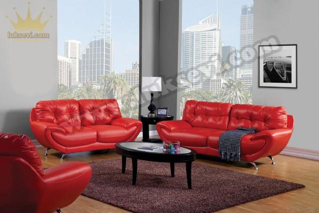 Kırmızı Deri Home Ofis Koltuk Takımı