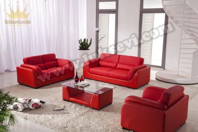 Kırmızı Deri Luxury Studio Koltuk Takımı