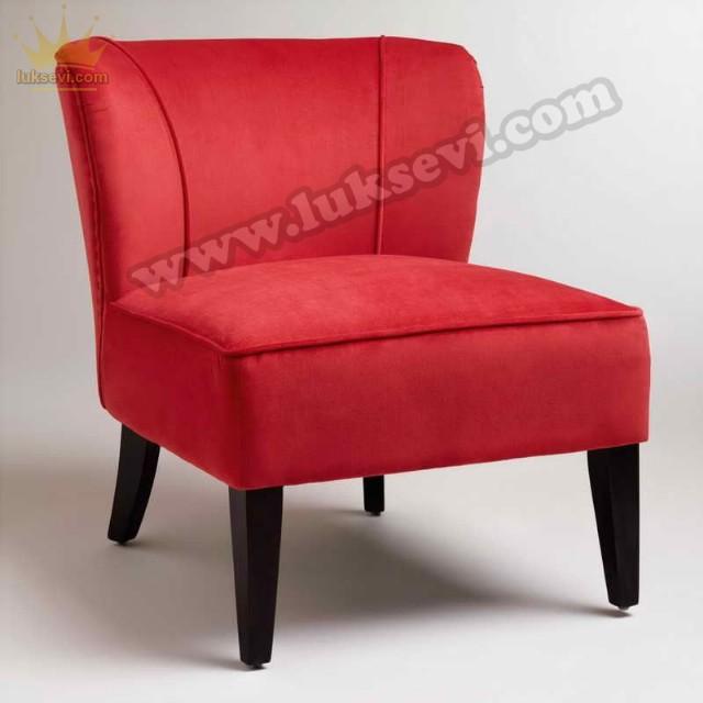 Kırmızı Kadife Mini Berjer Koltuk Kolçaksız
