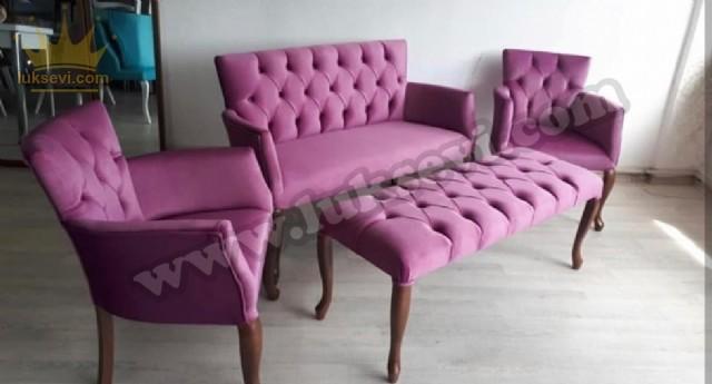 Lobby Sofa Set With Bench Pembe Kapitoneli Lobi Koltuk Takımı