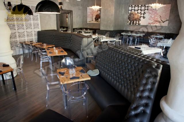 Lüks Restoran Deri Sedir Koltuklar Chester Sedir Koltuk