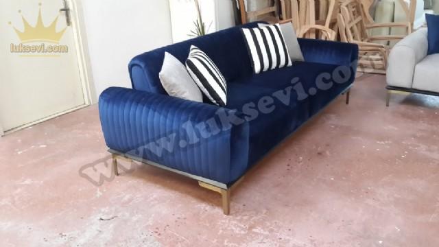 Luxury Lacivert Mavisi Üçlü Koltuk