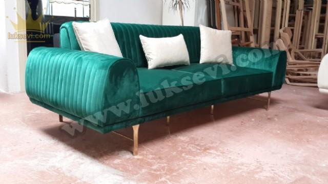 Luxury Yeşil Kadife Üçlü Kanepe Yataklı