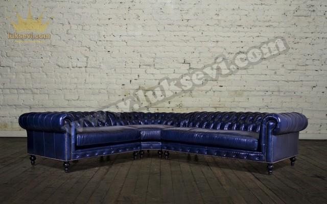Mavi Deri Chester Köşe Takımı Klasik Lüks Köşe Takımları