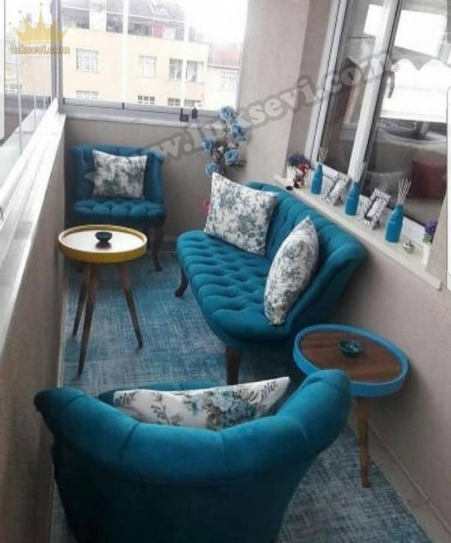 Mavi Renk Balkon Koltuk Takımı