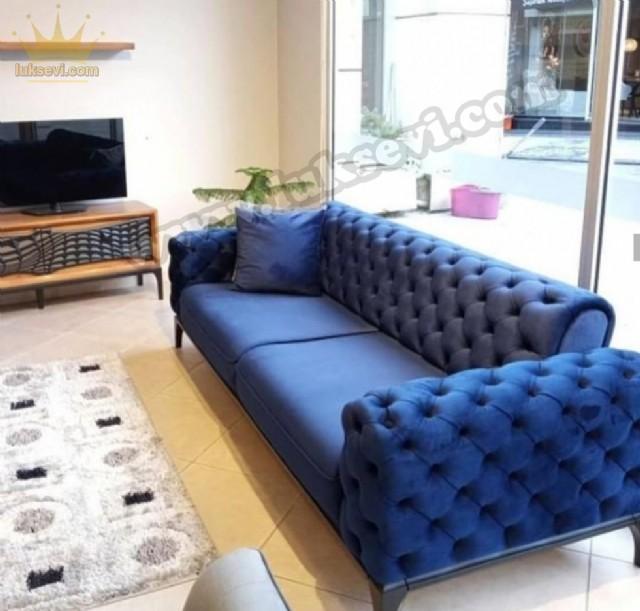 Mavi Renkli Yataklı Modern Chester Üçlükoltuk