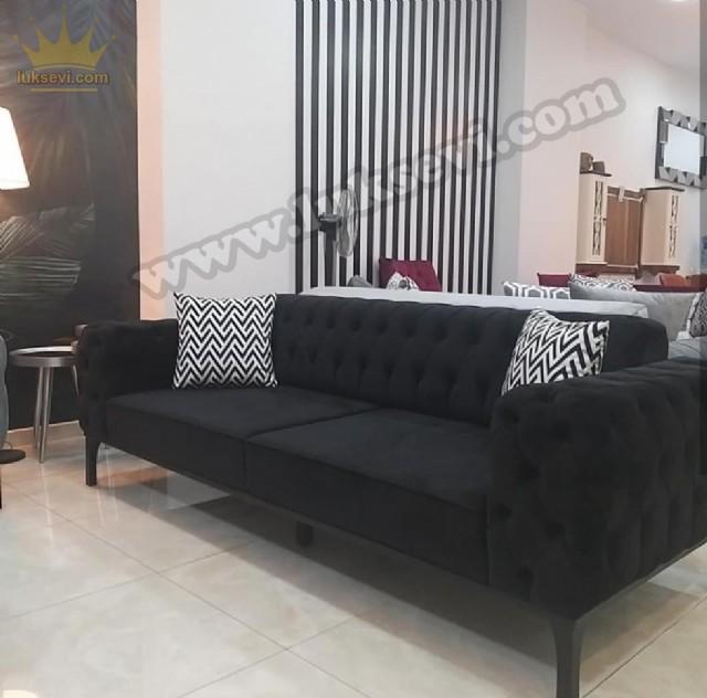Modern Chester Üçlü Kanepe Siyah Renkli