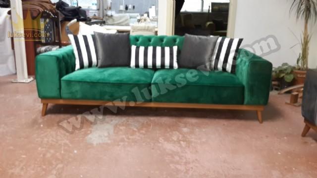 Modern Chester Üçlü Kanepe Yeşil Renkli