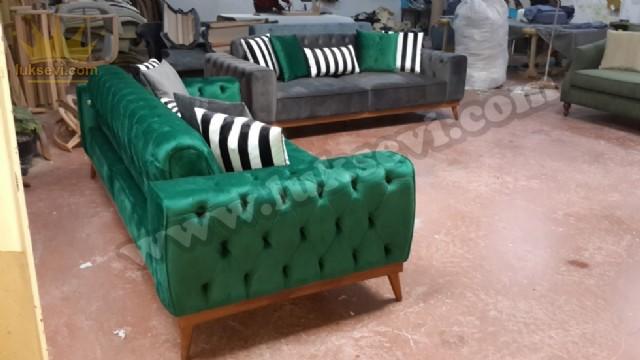 Yataklı Modern Chester Koltuk Takımı Yeşil Ve Gri Renkli Kadife