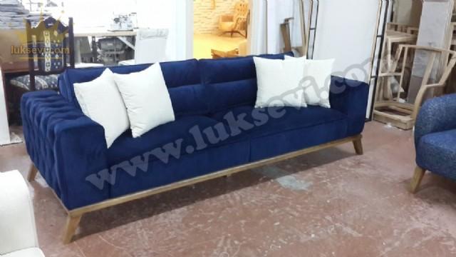 Yataklı Modern Koltuk Takımı Mavi Üçlü Kanepe