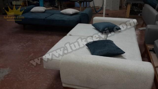 Yataklı Oturma Grubu Gri Beyaz Kumaş Döşeme