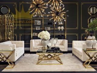 Golden Modern Koltuk Takımı Art Deco Lüks Oturma Odası Salon