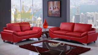 Kırmızı Deri Home Ofis Koltuk Takımları Luxury Studio Sofas