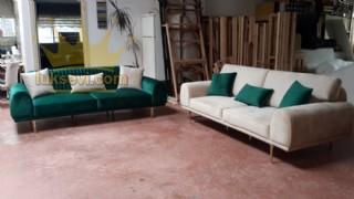 Luxury Koltum Takımı Kadife Yeşil Ve Beyaz (bej) Yataklı Koltuk Takımı