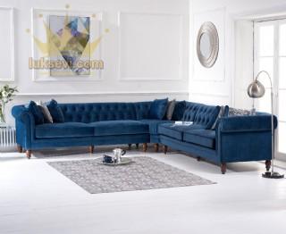 Mavi Chester Köşe Koltuk Takımı Lüks Modern Tasarımlar