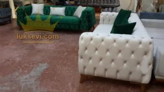 Yeşil Beyaz Chester Koltuk Takımı İtalyan Modern Tasarım